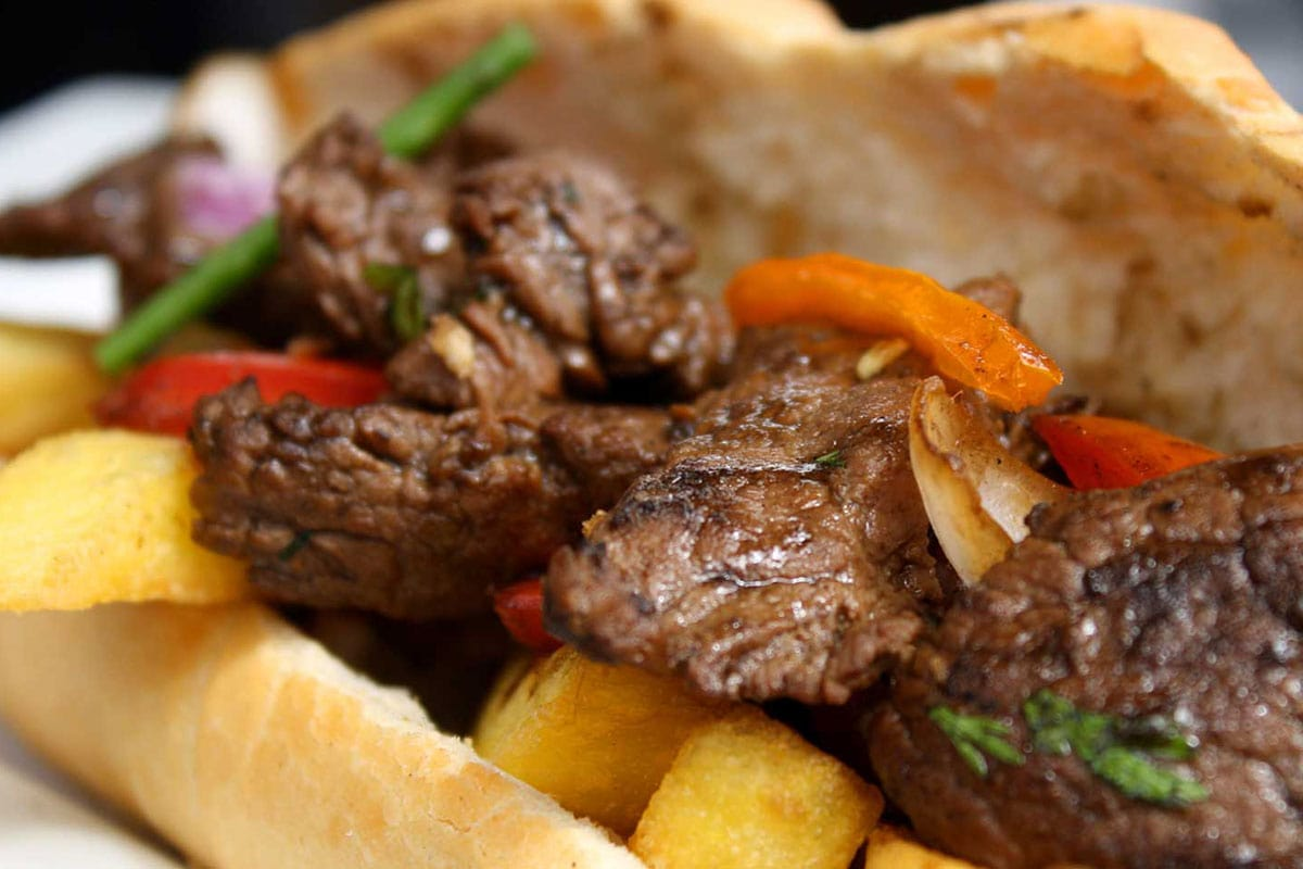 peruvian sandwich with lomo saltado