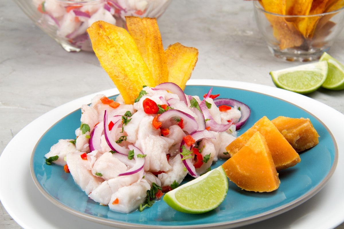 Healthy Peruvian Ceviche With Vegetables And Sweet Potato