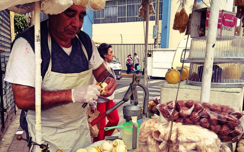 Peruvian street food vendor