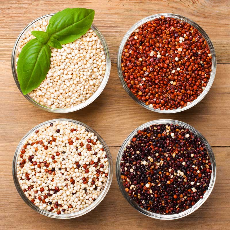white, red, black, and mixed raw quinoa grain