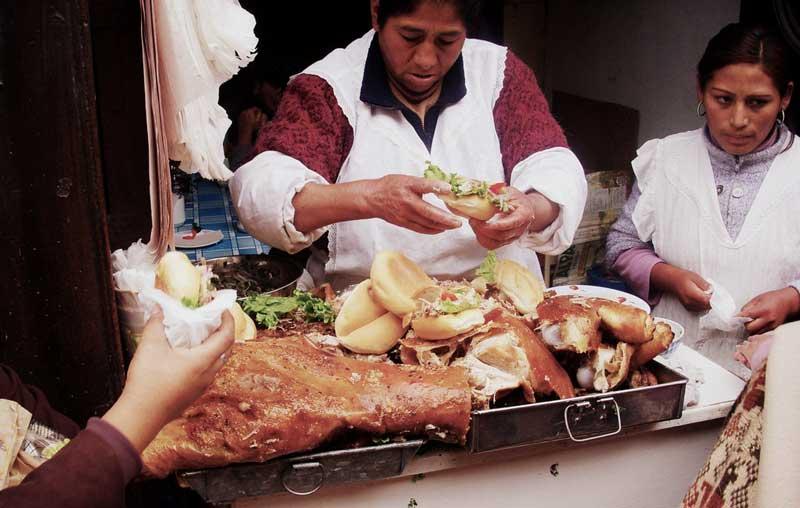 Butifarra Sandwich street seller in Lima