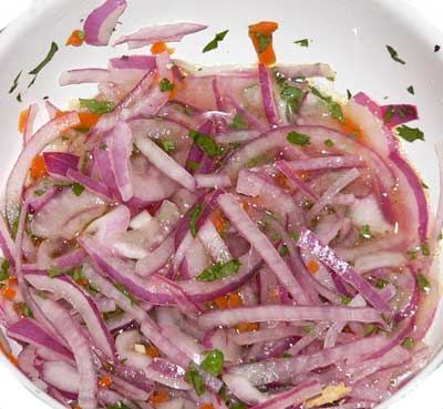 salsa criolla for butifarra Peruvian sandwich