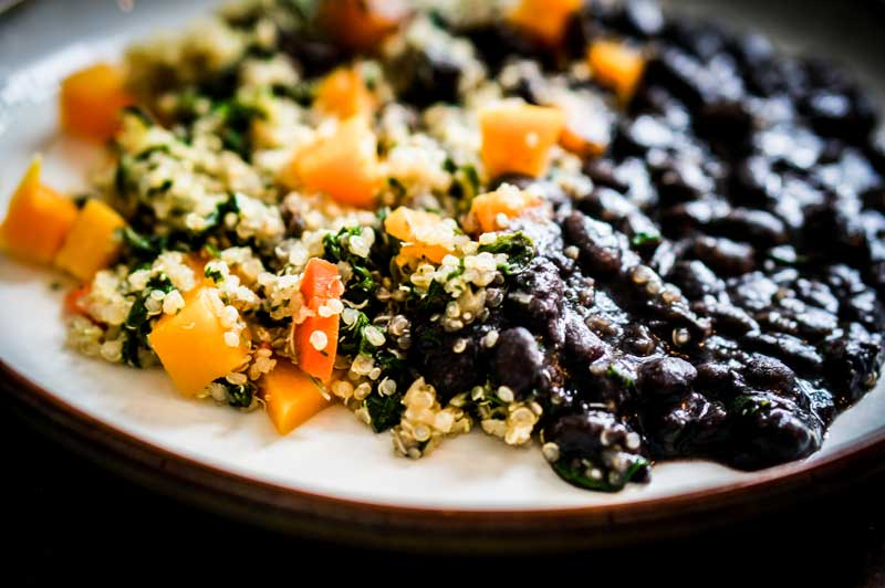 quinoa with vegetables and black beans salad