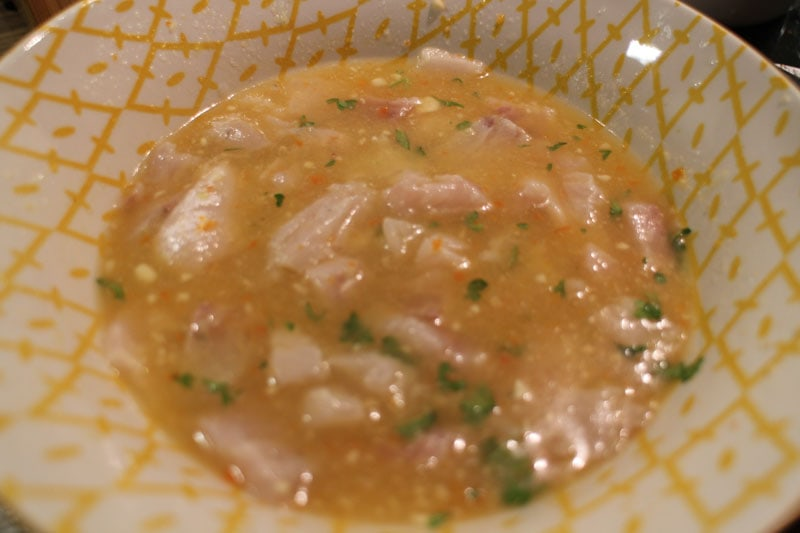 chopped sea bass fish in ceviche lime juice marinade