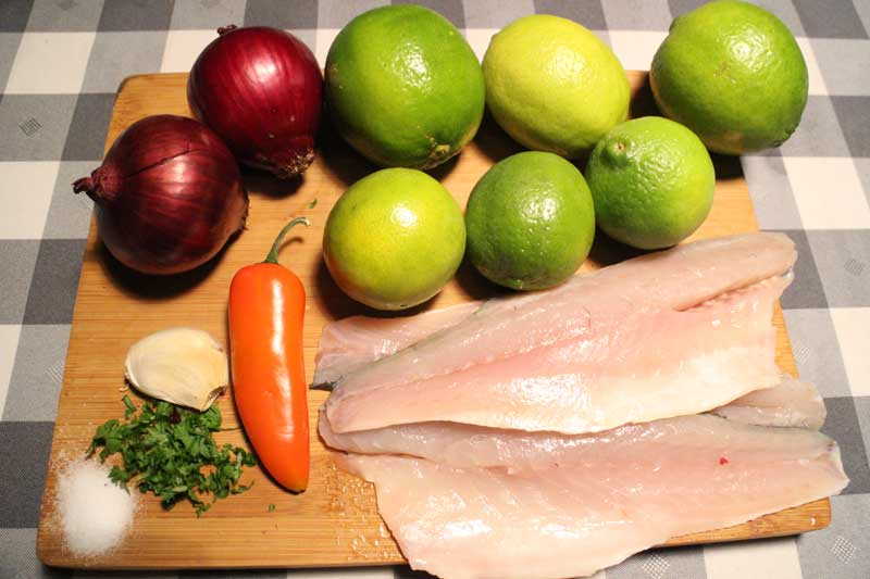 ceviche ingredients limes sea bass aji onion garlic coriander