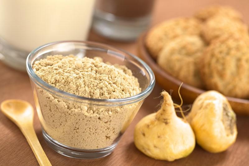 Maca Powder in Bowl with Maca Root