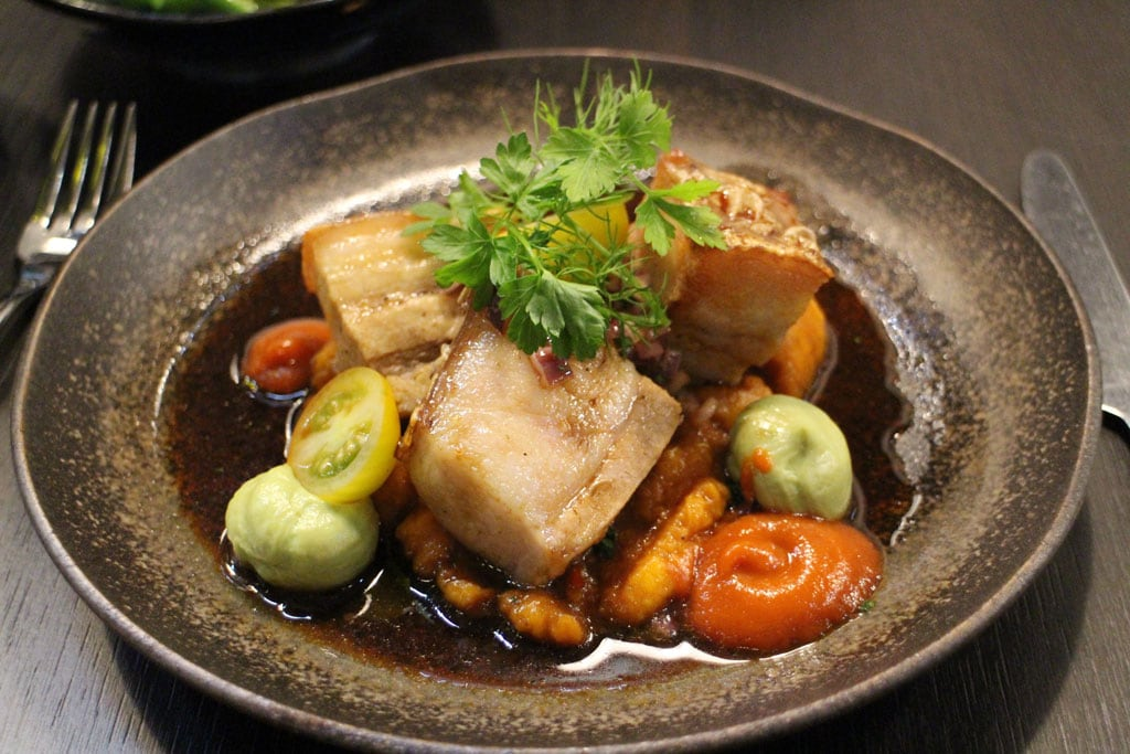 Peruvian food: Chicarron pork belly dish - Pisqu London