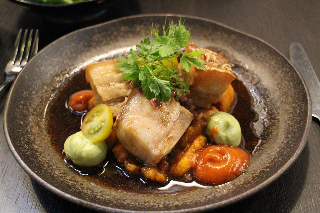 Peruvian food: Chicarron pork belly dish - Pisqu London