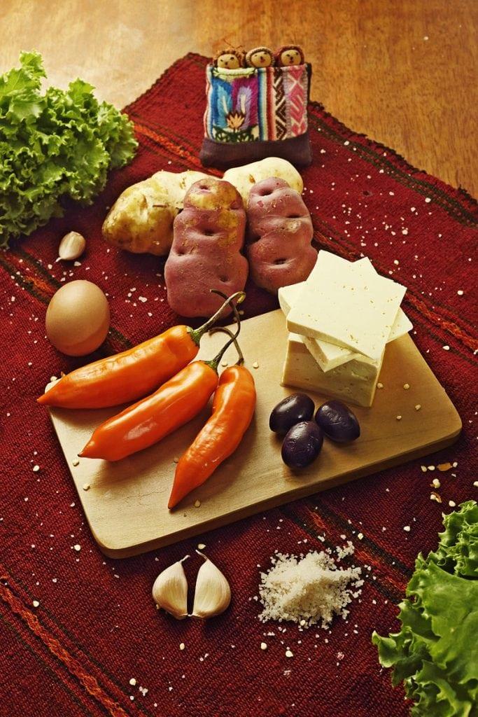 ingredients for papa a la huancaina peruvian dish