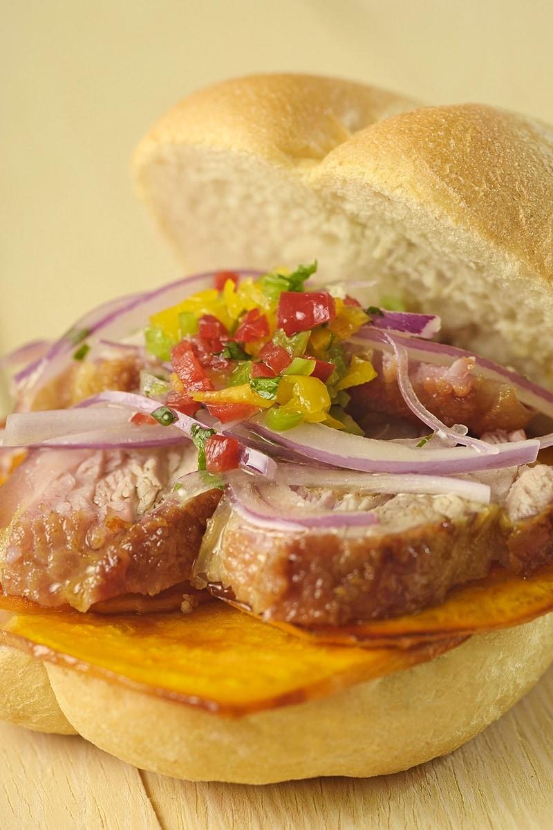 Pan Con Chicharron Peruvian Pork Sandwich 1