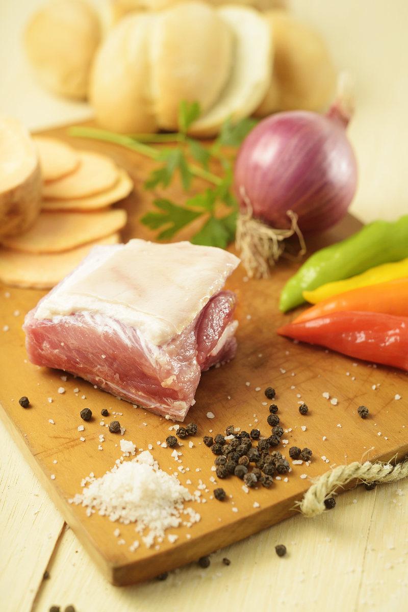 pork salt pepper and chili ingredients for chicharron