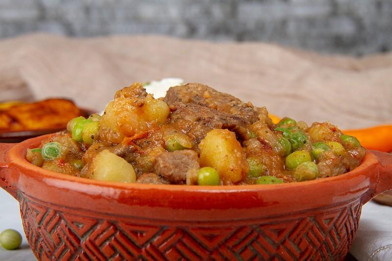 delicious peruvian beef stew with cilantro
