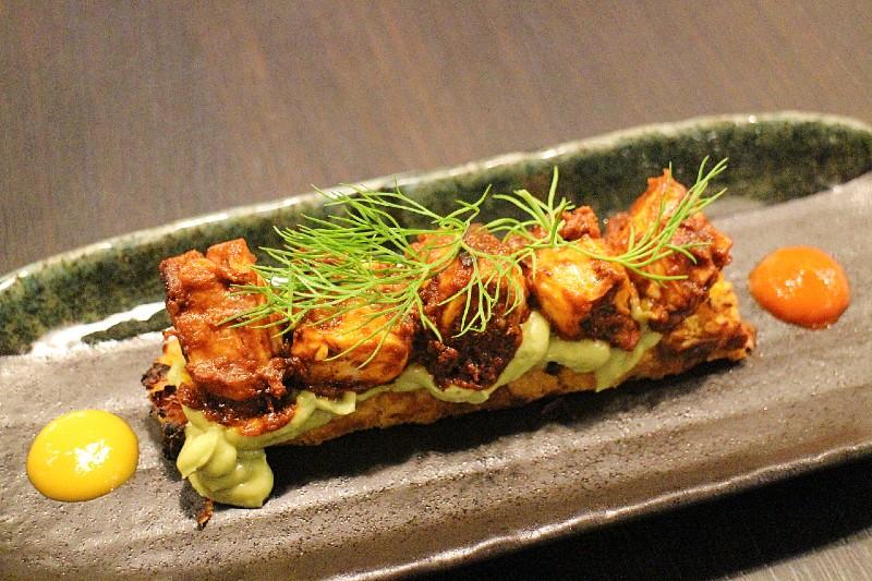 pulpo with corn grain cake organic nikkei dish
