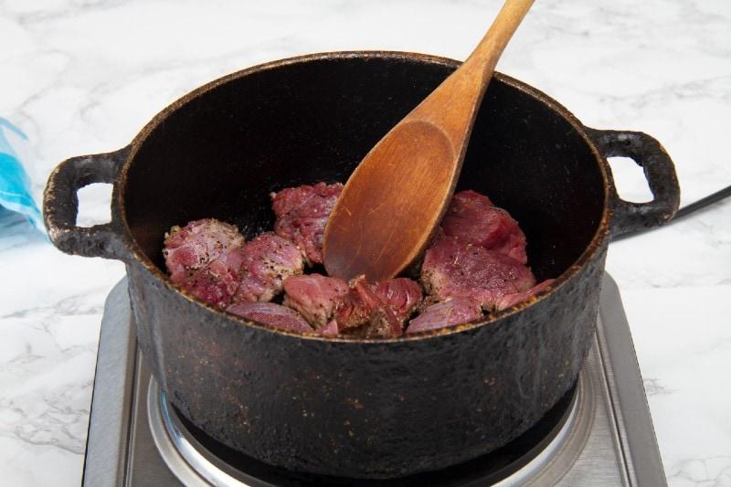 stir fry meat in deep pot