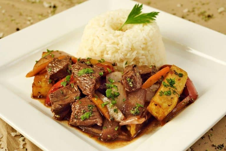 lomo saltado with rice and cilantro recipe