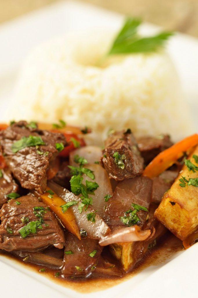 Lomo saltado recipe: Beef stir fry with rice and cilantro