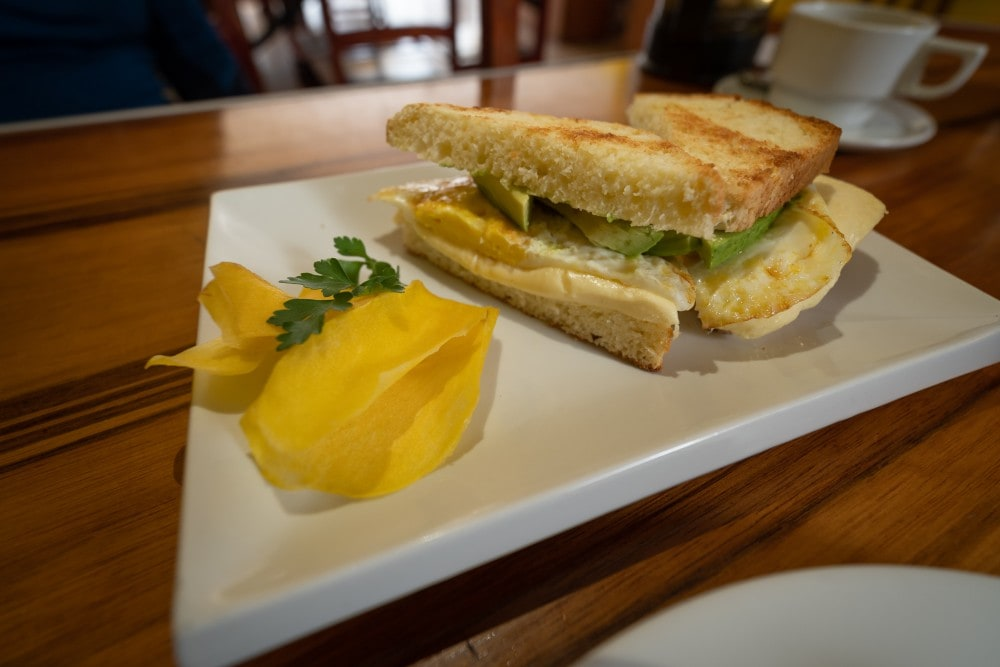 Cafe california Huaraz Peru  Egg Cheese and avocado toastie