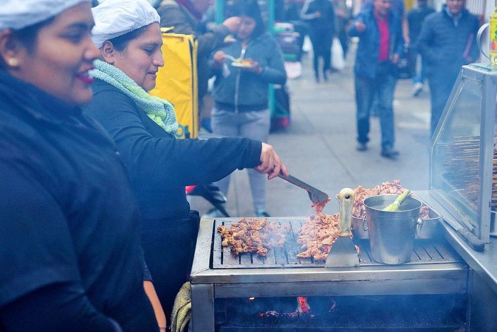 Anticucho street food sellers