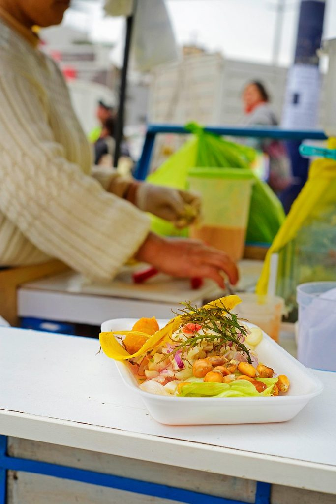 Ceviche sold on the streets of Lima