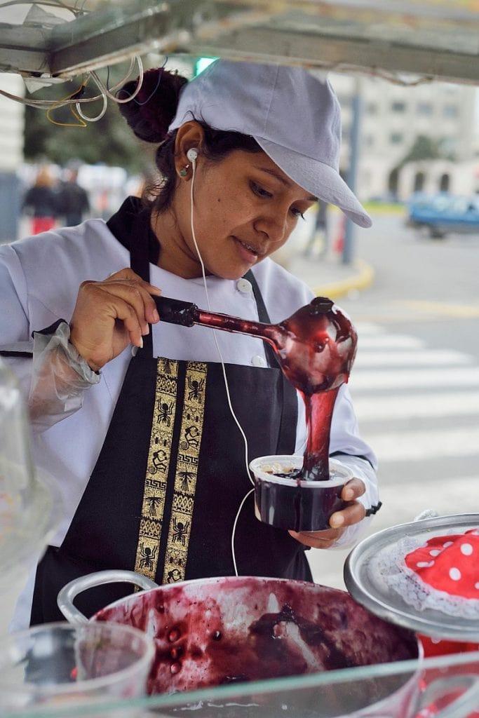 Mazamorra morada being prepared