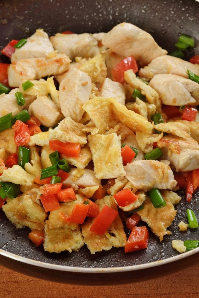 Chicken, Peppers, Spring Onion - Ingredients for Arroz Chaufa