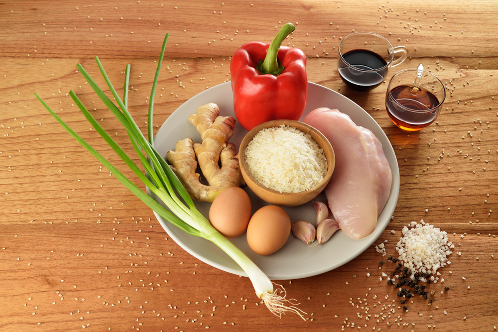 All Ingredients for Chaufa de Pollo Peruvian Fried Rice dish