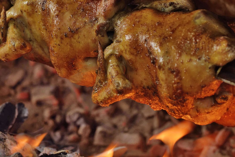 pollo a la brasa chicken roasting the traditional way