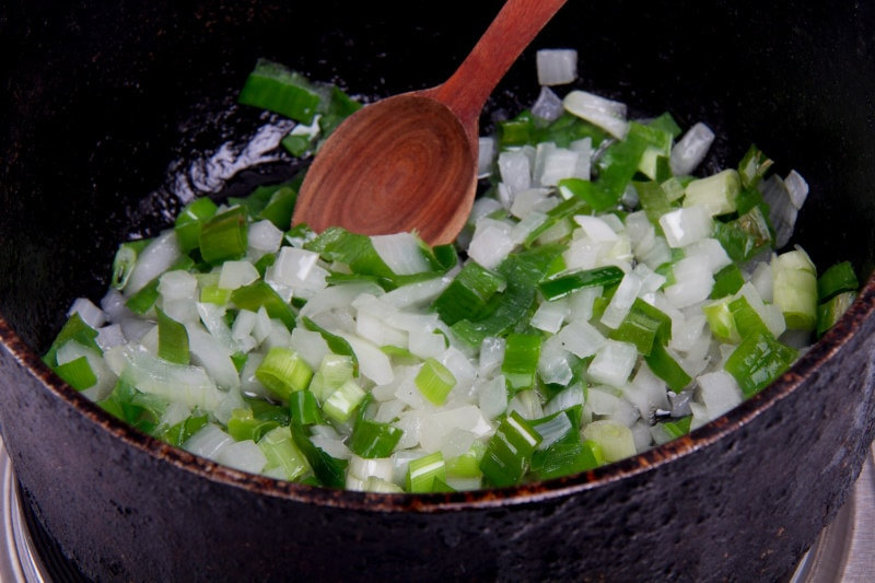 add onion and chives to oil in pot