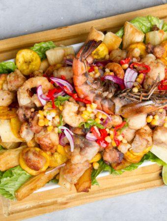 Peruvian jalea fried seafood dish