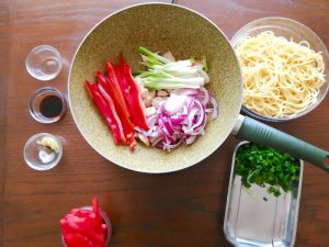 step 3 add red onion spring onions