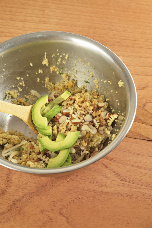 add avocado lime juice nuts to mix