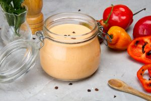 place the sauce in a dry glass container