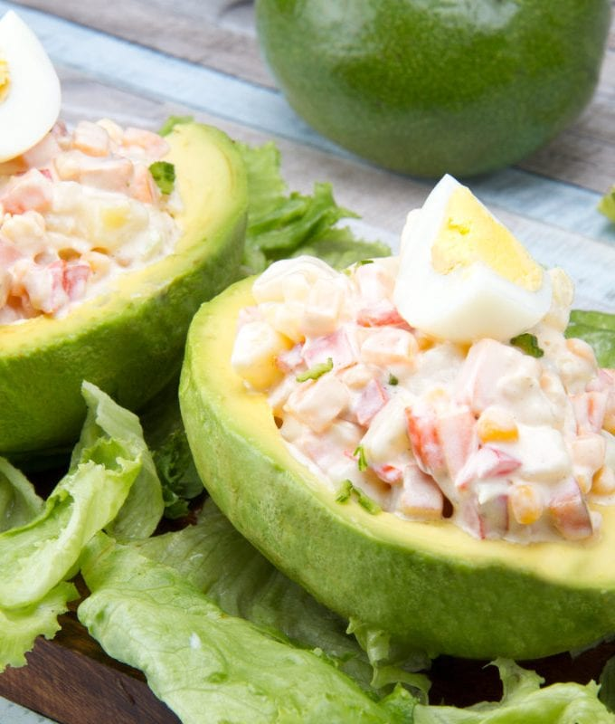 Vegetarian Peruvian palta rellena stuffed avocado recipe