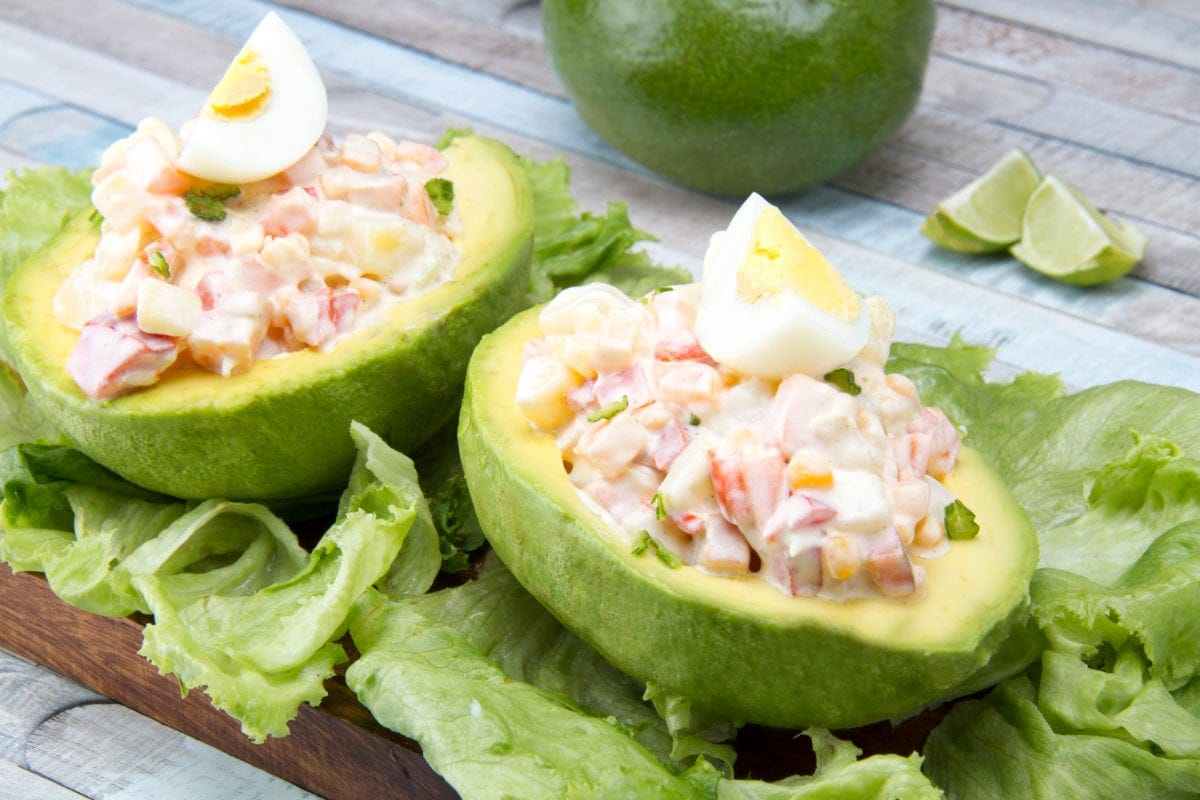 Vegetarian Peruvian palta rellena stuffed avocado recipe