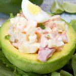 vegetarian stuffed avocado close up photo