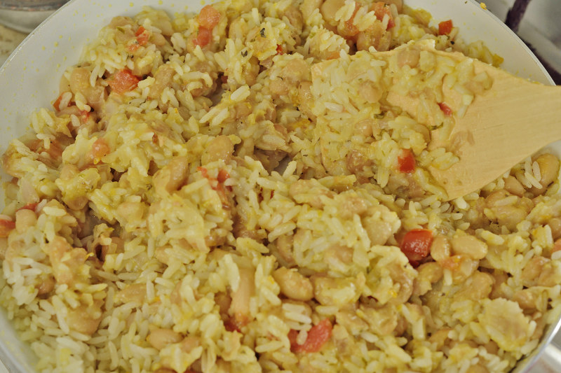 stir rice into beans