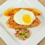 Tacu Tacu With Fried Platain Egg Salsa Criolla