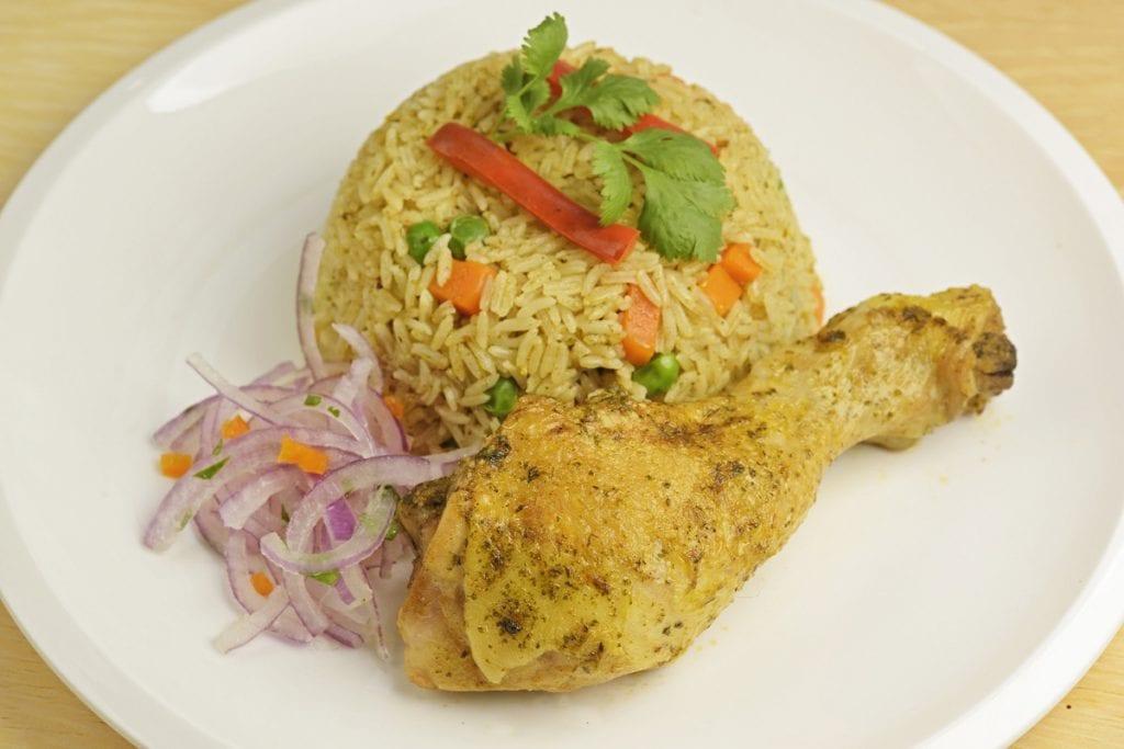 arroz con pollo peruvian dish