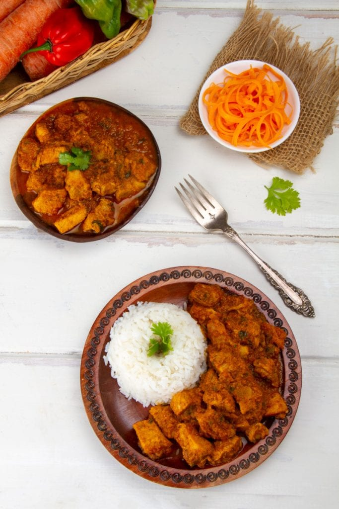 pork adobo with salad and white rice