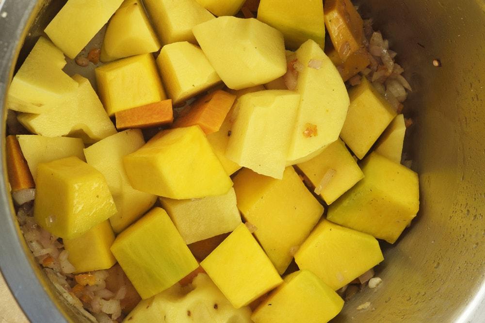 step 2a add chopped pumpkin and potato