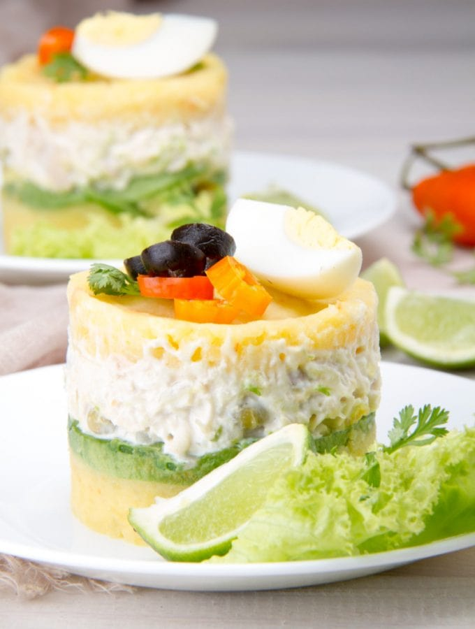 Causa Rellena With Olives Onion Mayo Potato Chicken