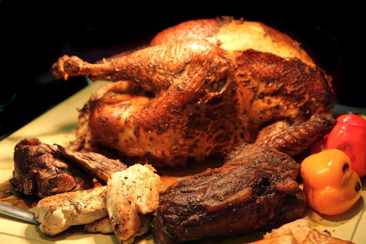 Christmas roast turkey in Peru with sweet peppers