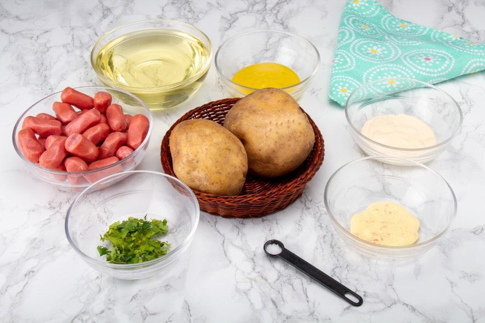 Salchipapa Peru Ingredients On Table