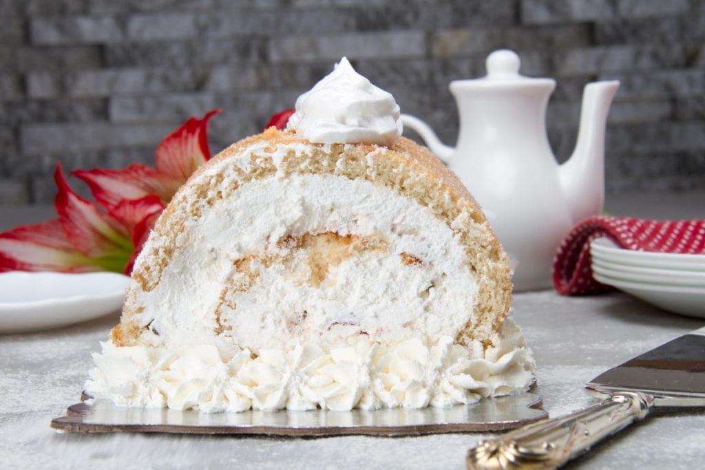 Sliced Pionono Cream Jelly Roll Cake