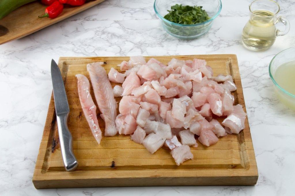 Step 1 Cut Mahi Mahi Fish Filet Into Cubes