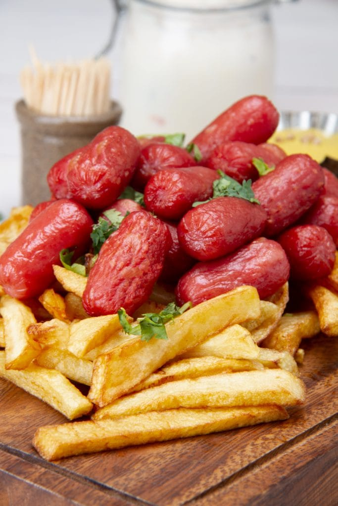 Street Food French Fries Hot Dog Snack From Peru