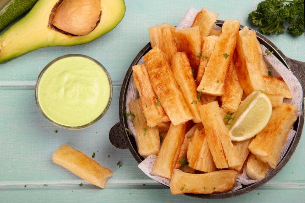Yuca Fried Sticks With Avocado Sauce