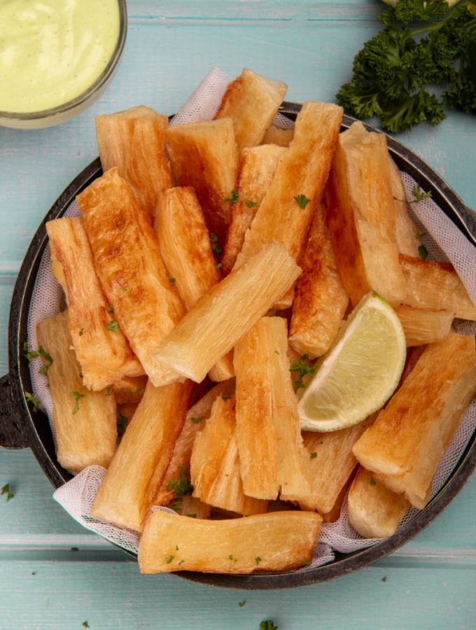 Yucas Fritas Peruvian Recipe With Lime Garnish