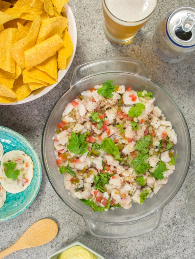 Ceviche With Peruvian Beer Corn Chips And Sauce
