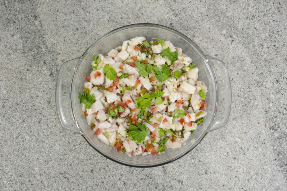 Fish Ceviche With Tomatoes Cucumber Onion And Cilantro